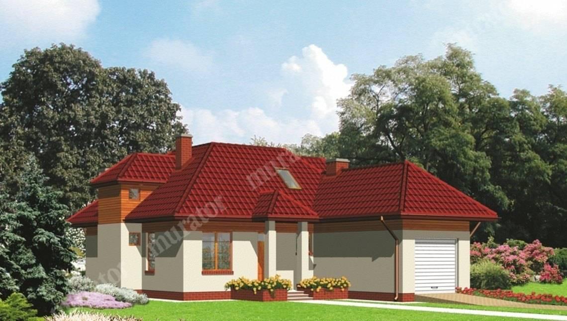 Проект особняка на 4 спальни с крышей сложной формы