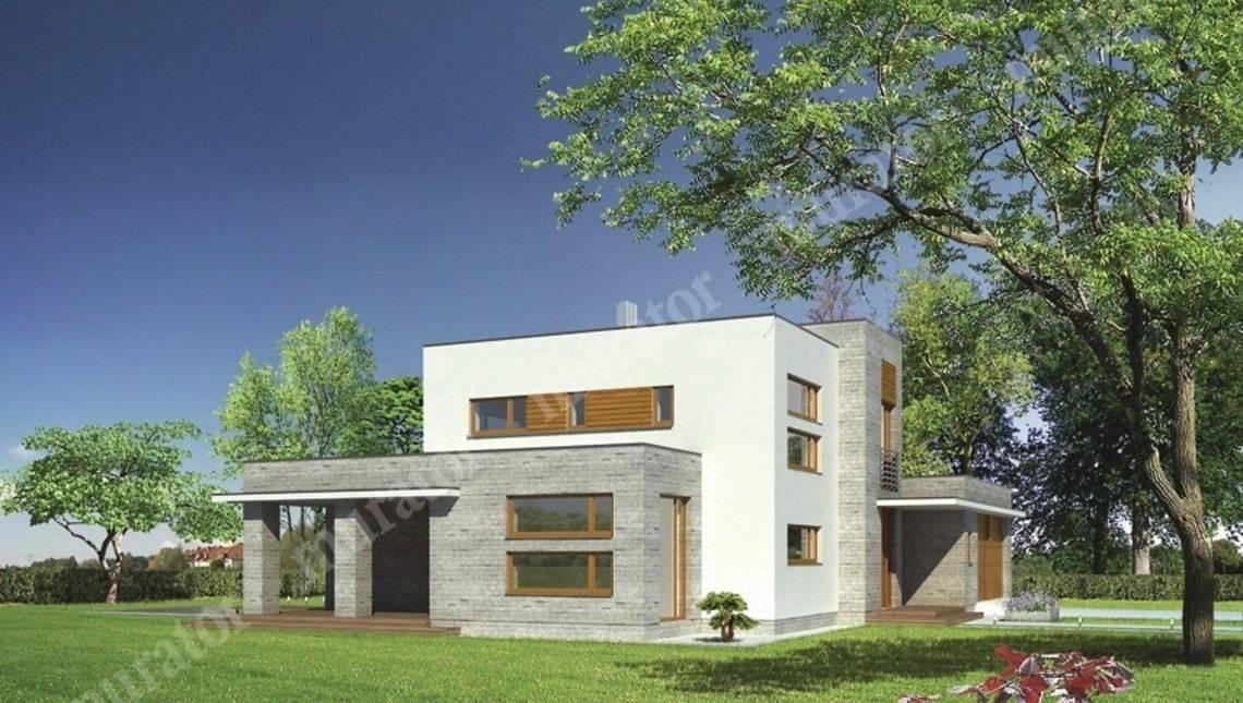 Проект современного особняка с гаражом на 2 авто
