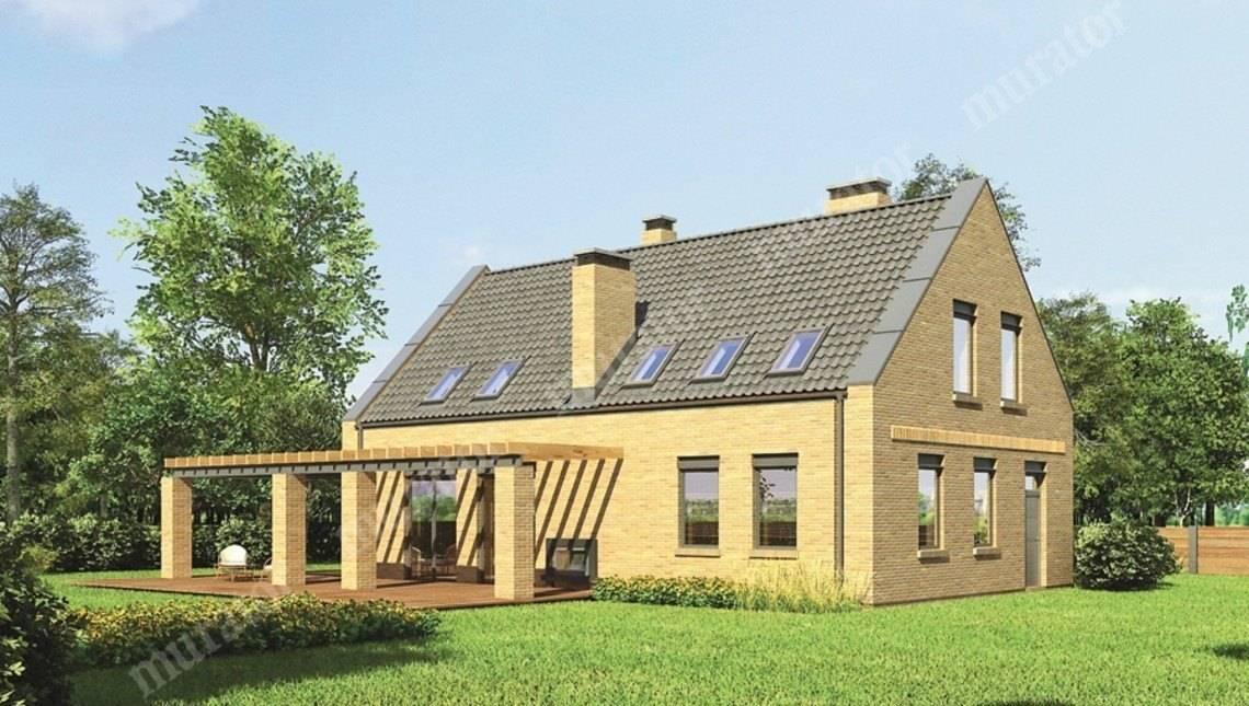 Проект интересного кирпичного дома на два этажа