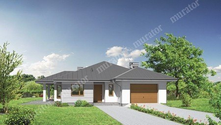 Проект одноэтажного особняка с большой террасой