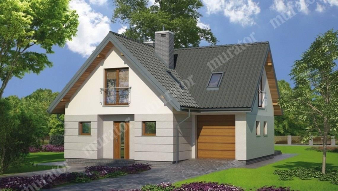 Проект двухэтажного дома с гаражом на 1 авто