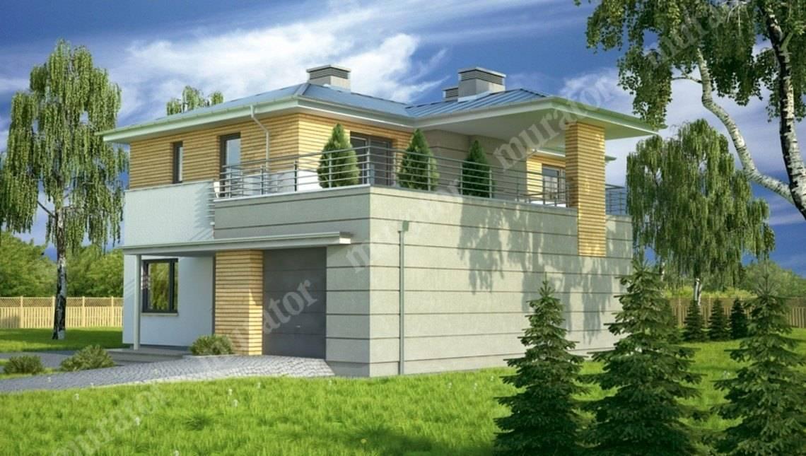 Проект стильного дома с большой террасой на втором этаже
