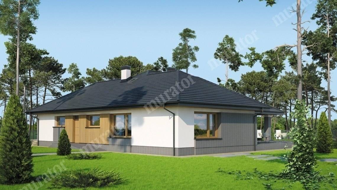 Проект одноэтажного дома с большой верандой