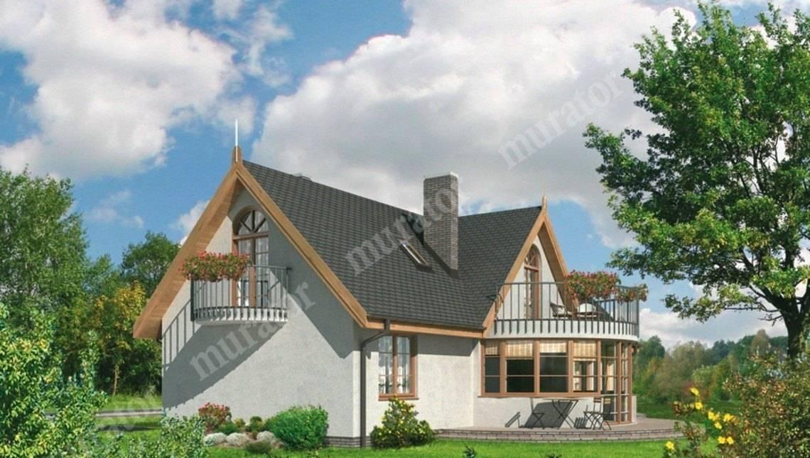 Проект великолепного дома с круглым эркером