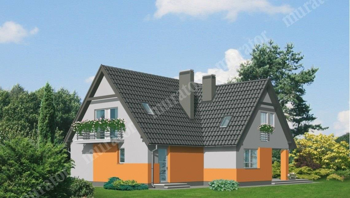 Проект яркого жилого дома на 2 этажа