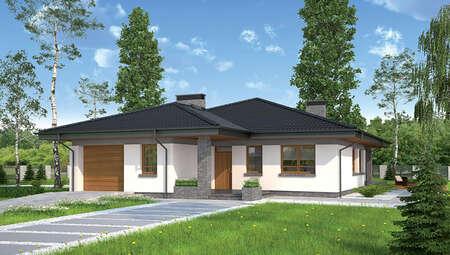 Проект стильного одноэтажного дома с камином