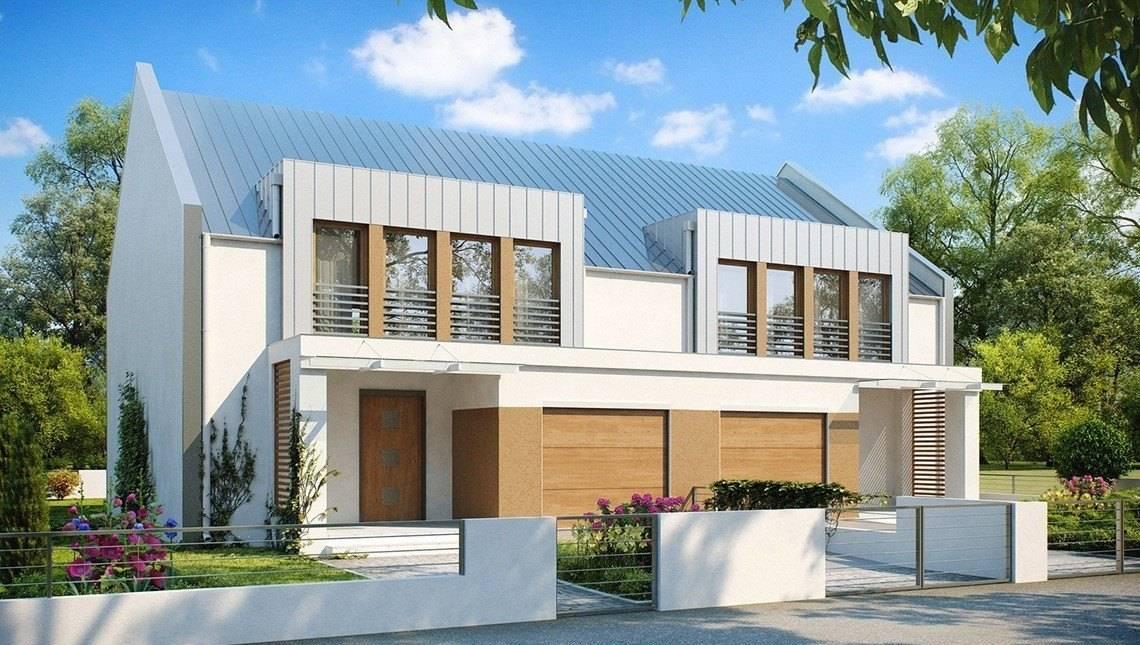 Проект дома на две семьи современного дизайна