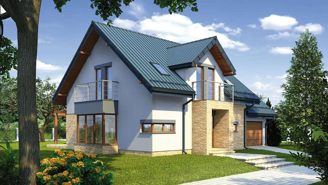Проект красивого дома с квадратным эркером