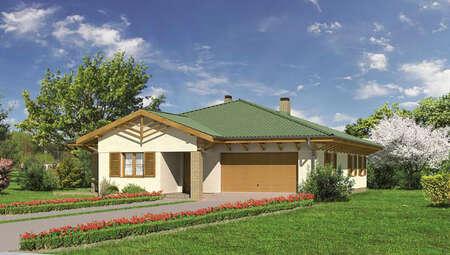 Проект одноэтажного дома с деревянными архитектурными элементами
