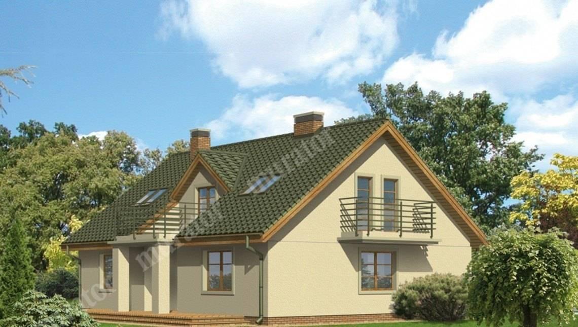Проект двухэтажного дома с тремя балконами
