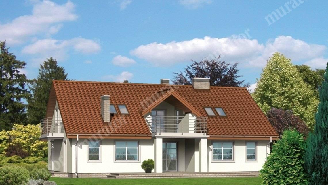 Проект красивого двухэтажного дома с гаражом на 2 машины