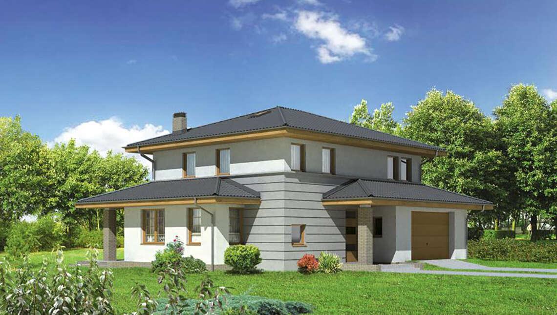 Проект интересного дома с гаражом на две машины