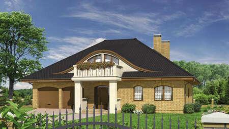 Проект кирпичного дома с полукруглыми окнами