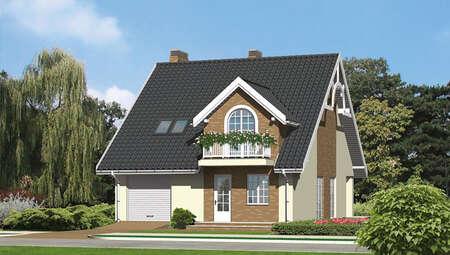 Проект красивого дома с высокой крышей