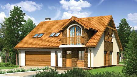 Проект красивого дома с декором насыщенного цвета