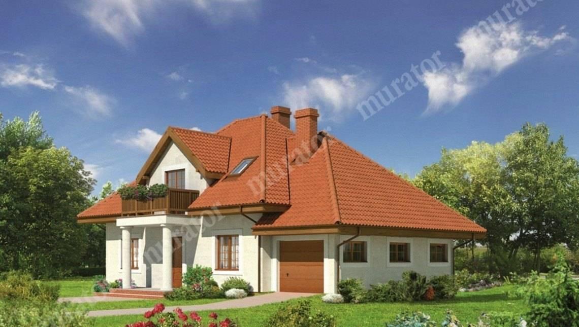 проект симпатичного дома под крышей сложной формы
