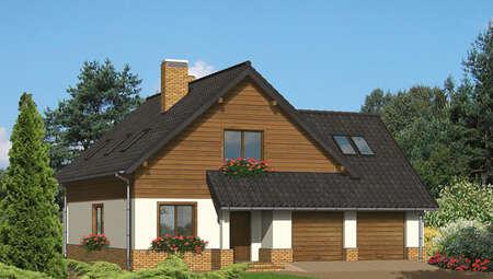 Проект красивого дома в коричневом цвете