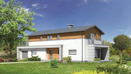 Интересный двухэтажный дом для узкого участка