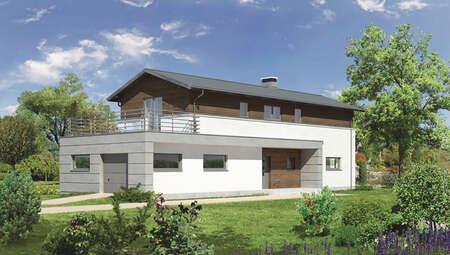 Проект дома для узкого участка с гаражом на 1 авто