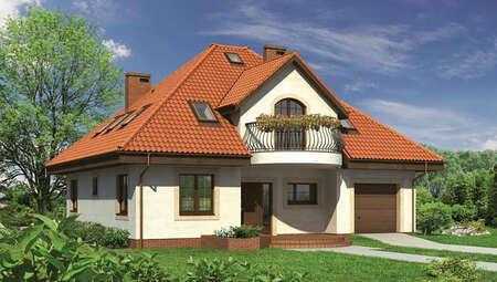 Двухэтажный дом с полукруглыми балконами