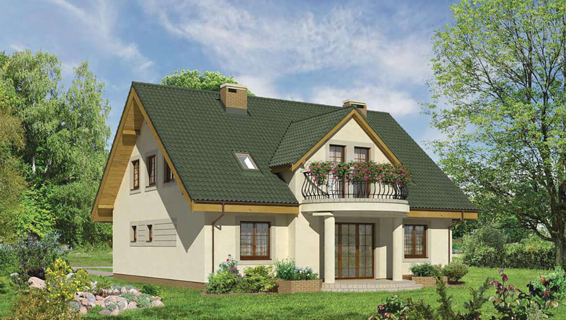 Проект двухэтажного особняка с полукруглыми балконами