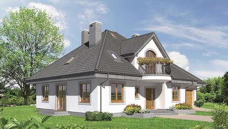 Проект красочного особняка с полукруглыми балконами