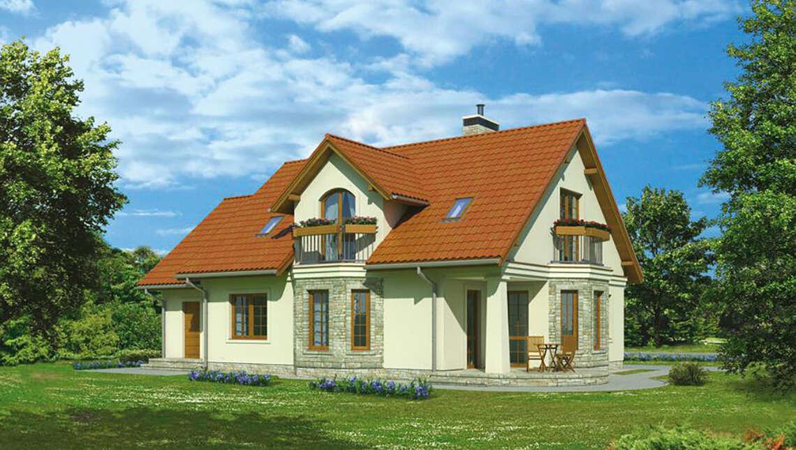Проект красивого дома с двумя эркерами