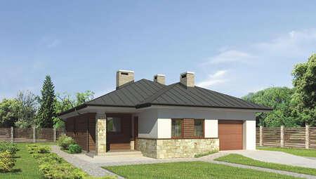 Проект одноэтажного дома декорированного натуральным камнем