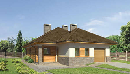 Проект одноэтажного дома с камином