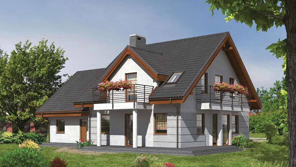 Проект двухэтажного особняка на три балкона