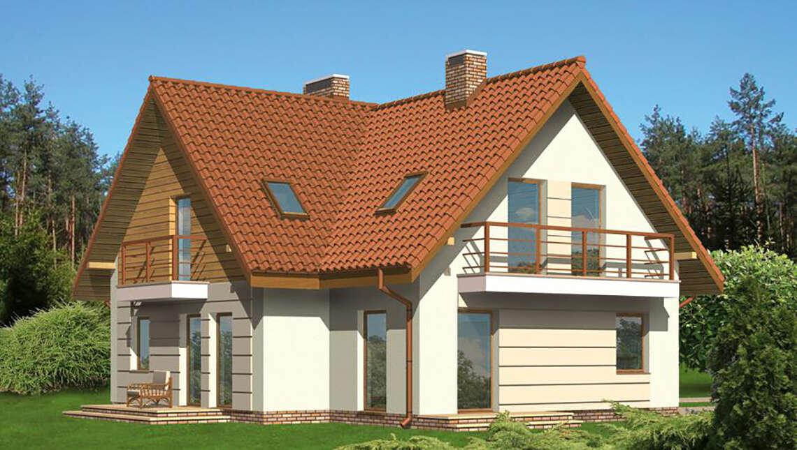 Проект двухэтажного особняка с камином