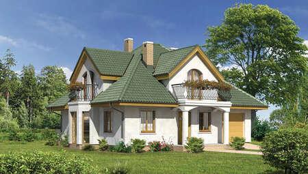 Проект красивого дома под крышей сложной формы