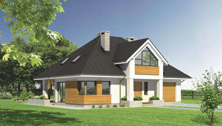 Проект светлого дома с деревянными декоративными элементами