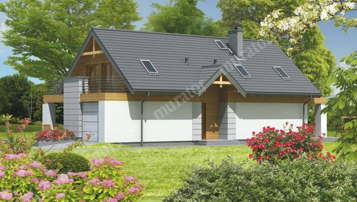 Проект двухэтажного дома с большой террасой