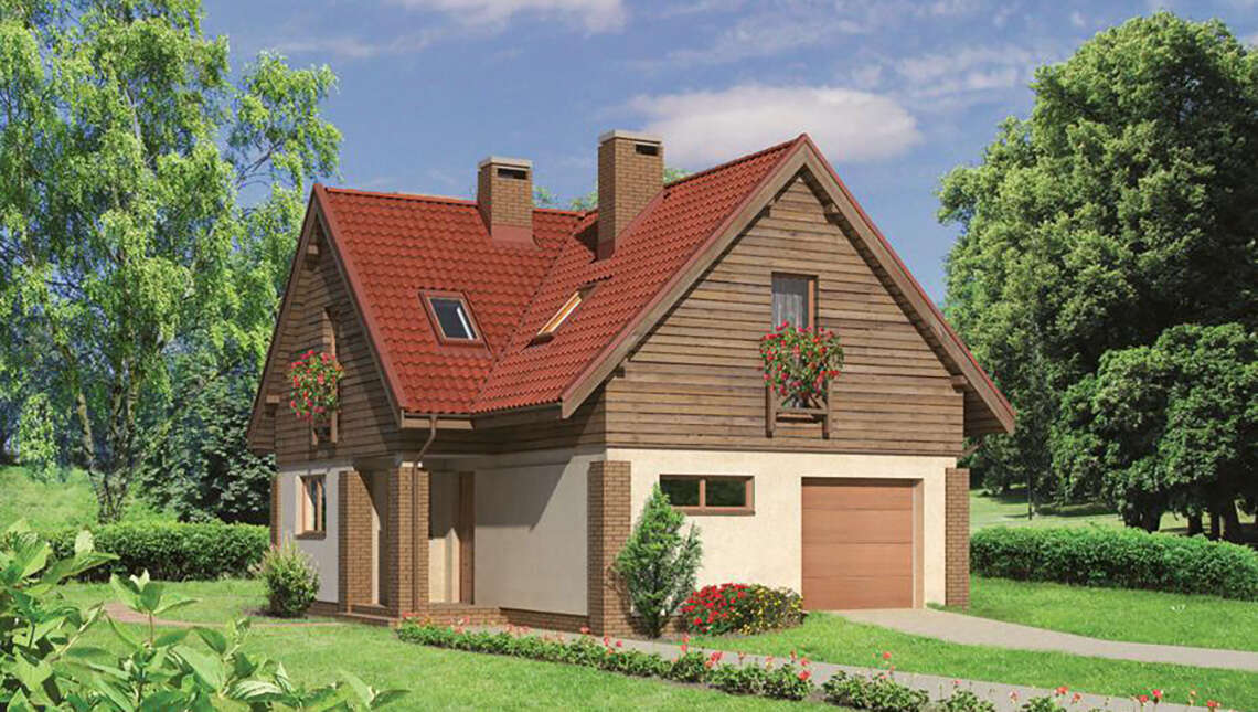 Проект двухэтажного дома с деревянными фронтонами