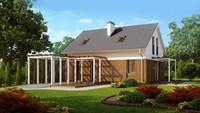 Проект дома с мансардой, двускатной крышей и деревянным фасадом