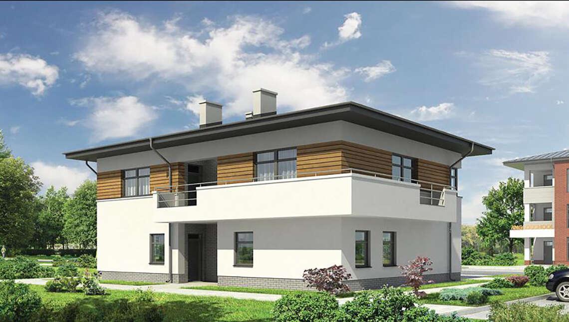 Проект двухэтажного здания с торговыми помещениями