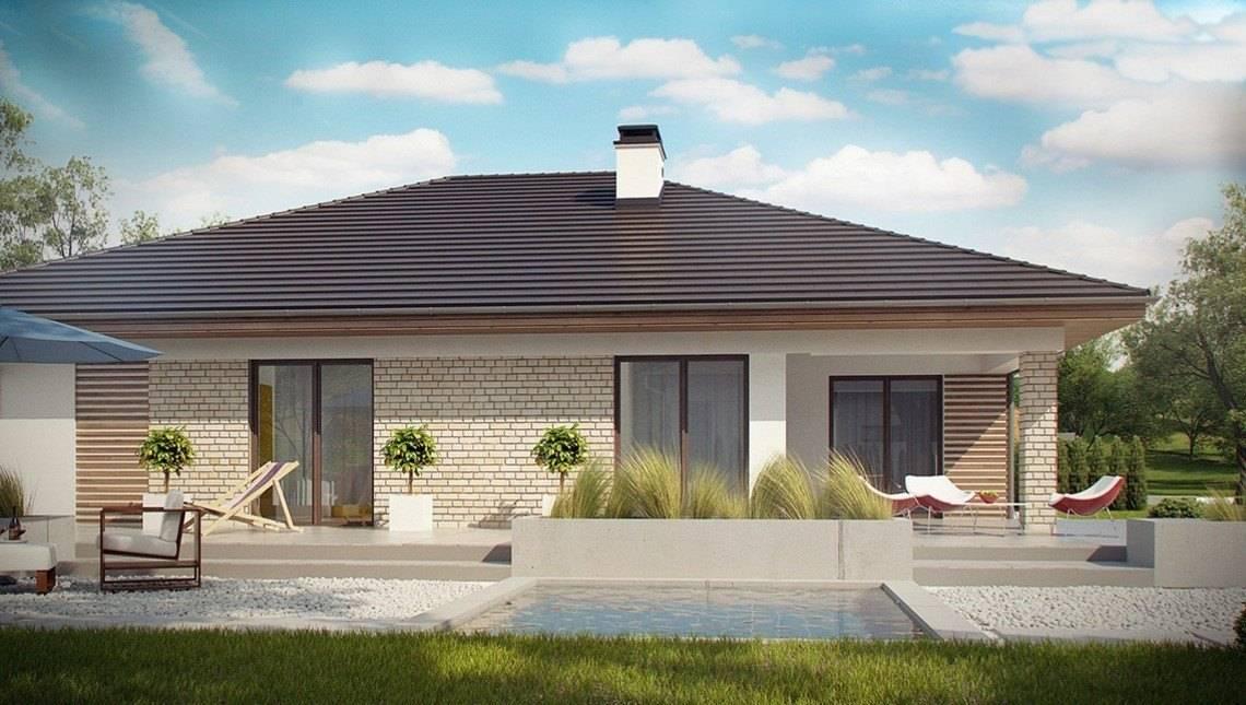 Проект одноэтажного коттеджа с террасой