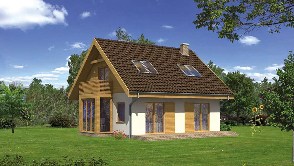 Проект двухэтажного дома с квадратным эркером