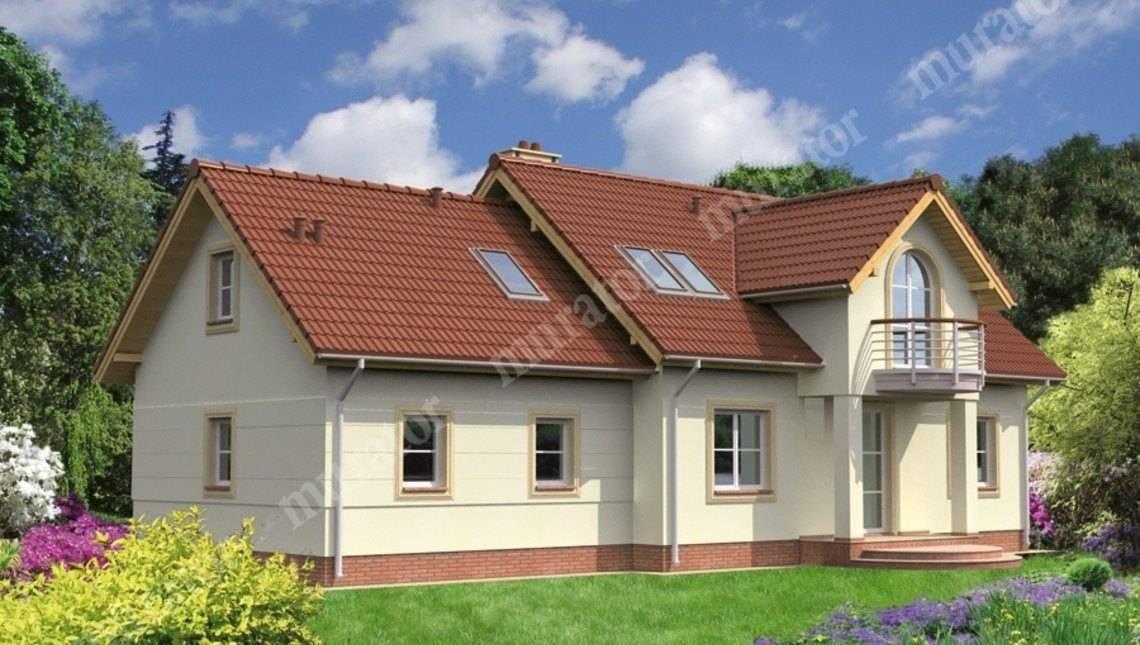 Проект красивого дома с двумя круглыми балконами