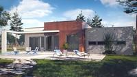 Проект современного коттеджа с плоской крышей и гаражом для двух авто