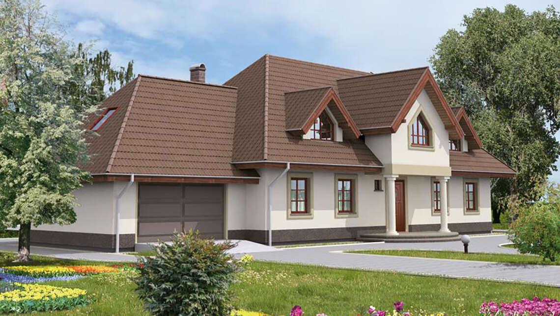 Проект красивого дома с запоминающейся крышей