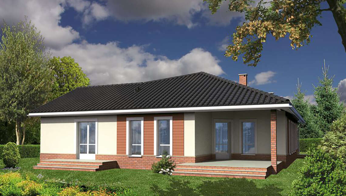 Проект одноэтажного жилого дома интересной формы