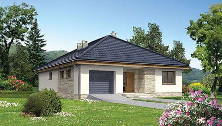 Проект одноэтажного дома с кирпичным орнаментом
