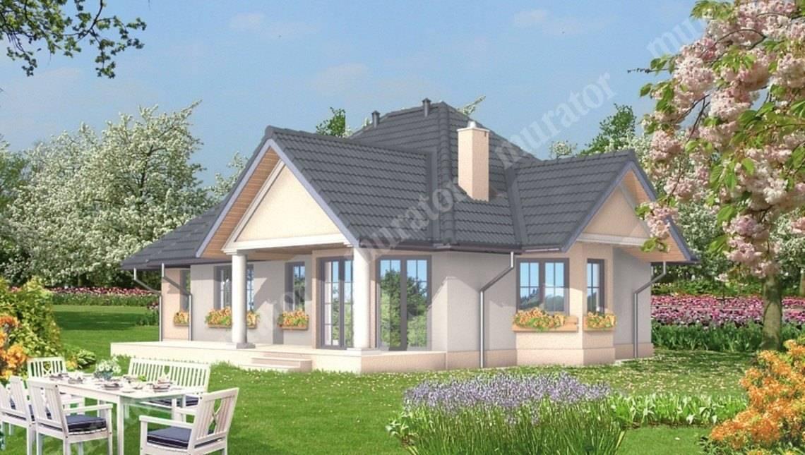 Проект изысканного дома с колоннами