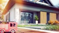 Проект небольшого коттеджа с четырехскатной крышей общей площадью 110 кв.м.