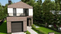 Проект загородного коттеджа площадью 123 кв.м. с гаражом 20 кв.м
