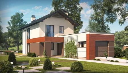 Проект 2-х этажного дома с гаражом