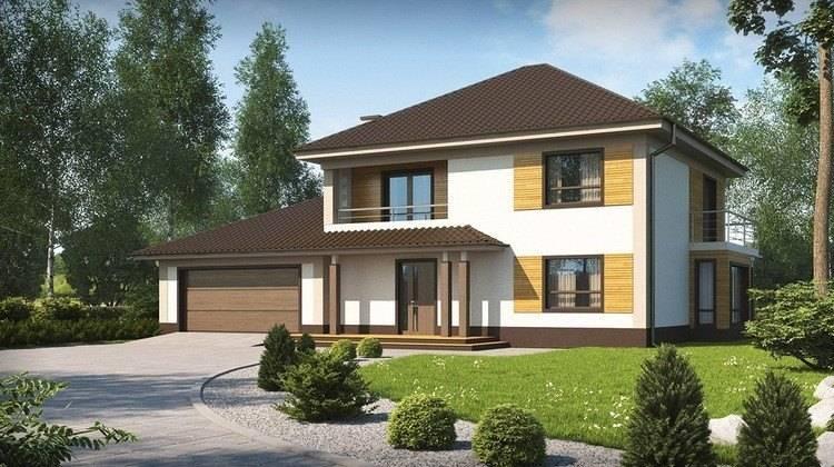 Проект двухэтажного дома с гаражом на два авто