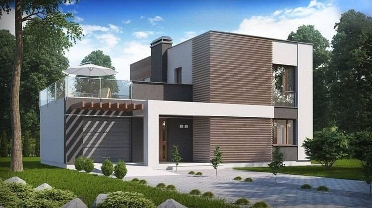 Современный проект двухэтажного дома с гаражом